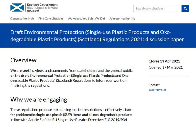 Single use plastics consultation